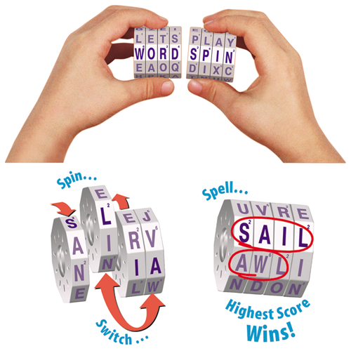 WORD SPIN - Original Handheld Magnetic Travel Word Game