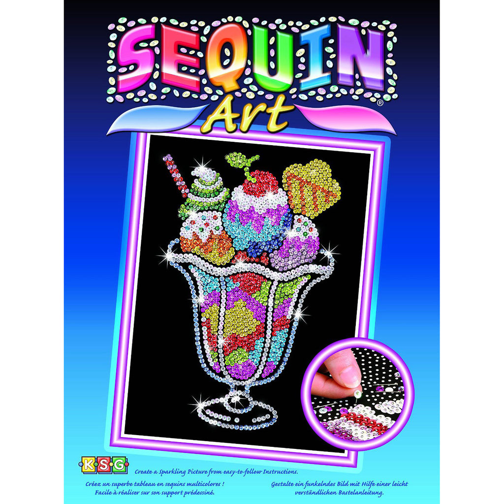 Sequin ArtR Blue Ice Cream Sundae Sparkling Arts And Crafts Picture Kit