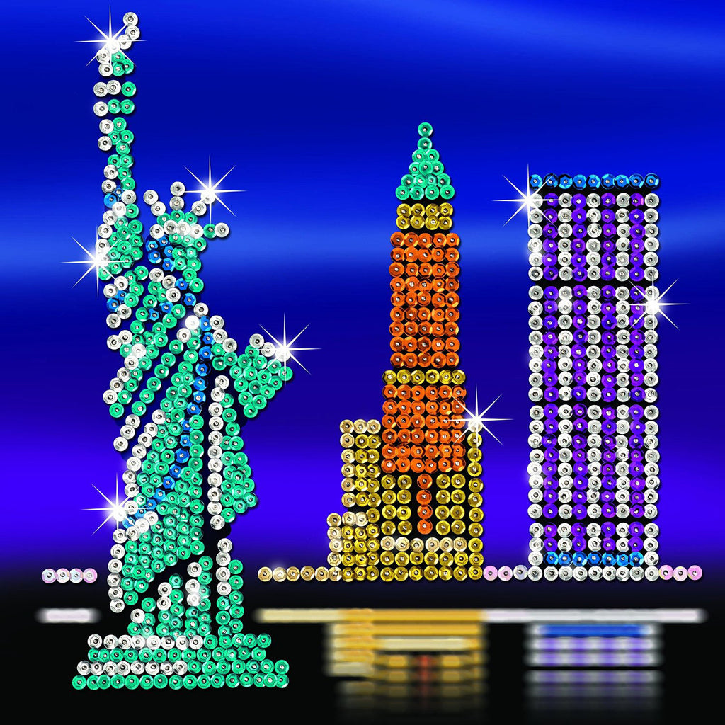 Sequin art style new york skyline sparkling arts and for Arts and crafts new york