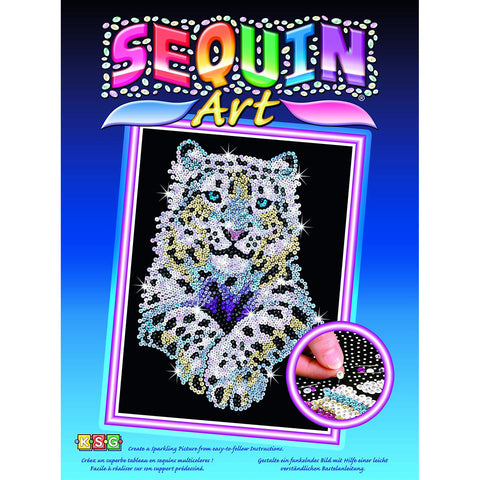 Snow Leopard Sequin Art® Blue Sparkling Arts & Crafts DIY Picture Kit