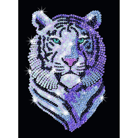 Sequin Art® Blue, Snow Tiger, Sparkling Arts and Crafts Picture Kit
