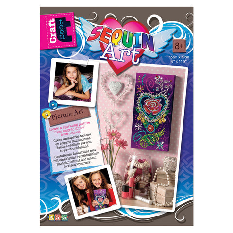 Rose-in-Heart Picture Kit - Sequin Art® Craft Teen Sparkling DIY Arts & Crafts Kit