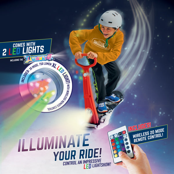 ILLUMINATOR LED Ski Skooter: Includes 2 Individual LED lights with wireless remote, fold-up Snowboard Kick-Scooter, Assorted Colors (BRAND NEW! 2017)