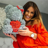 Grey Rose Bear with Red Heart 14 in.