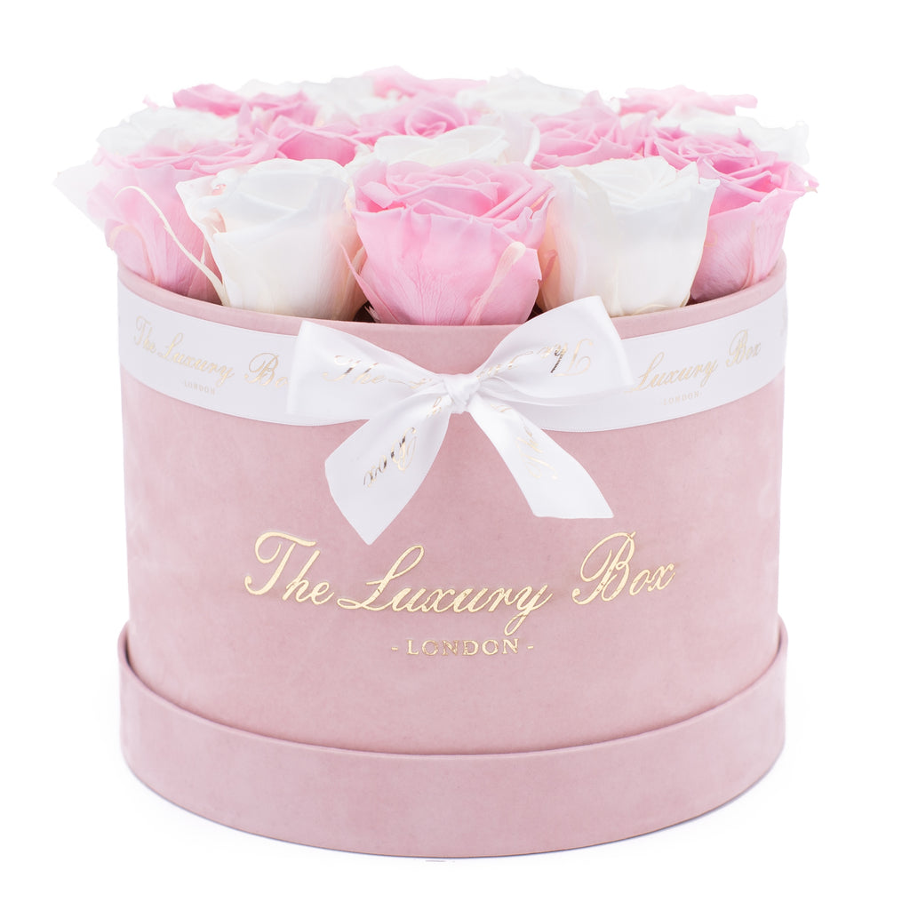Pink and White Eternity Roses In Pink Box