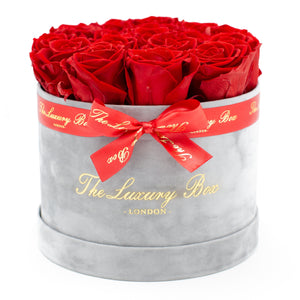 red preserved eternity roses in grey rose box