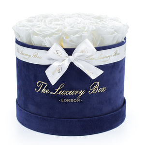 White Eternity Roses In Velvet Navy Blue Box