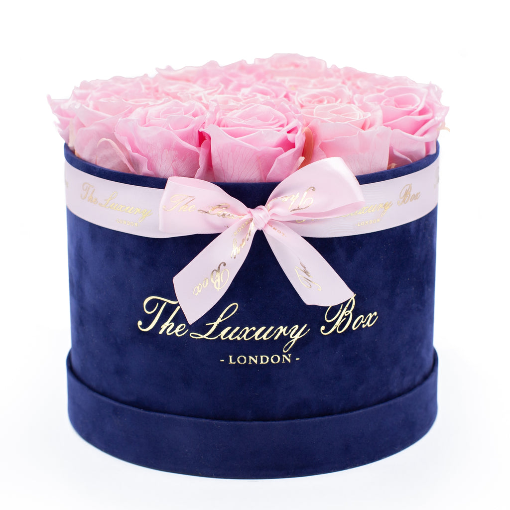 Pink Eternity Roses In Navy Blue Box