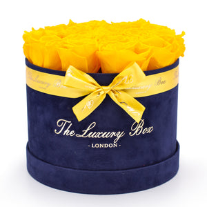 Yellow preserved Eternity Roses In Navy rose Box