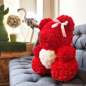 Red Rose Bear with Heart 14 in.