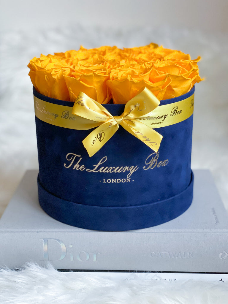 Yellow Eternity Roses In Navy Box