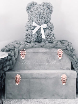 Grey Rose Bear with Ribbon 14 in.