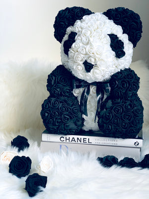 Panda Rose Bear with Ribbon 14 in.
