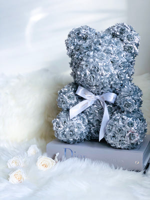 Silver Rose Bear with Ribbon 14 in.