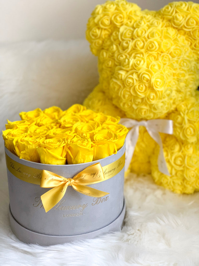 Yellow Rose Bear with Ribbon 14 in.