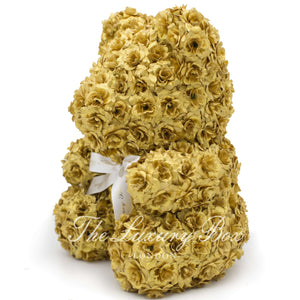 Gold Rose Bear with Ribbon