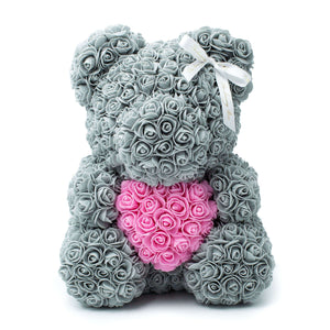 Grey Rose Bear With Heart