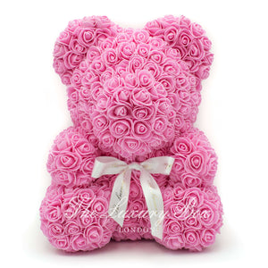 Pink Rose Bear with Ribbon