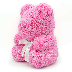 Pink Rose Bear with Ribbon 14 in