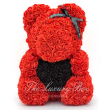 Red Rose Bear with Black Heart 14 in. - Luxury Box London
