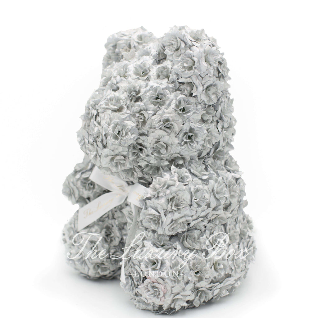 Silver Rose Bear with Ribbon 14 in. - Luxury Box London