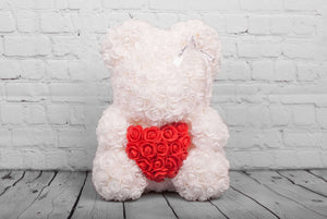 White Rose Bear with Red Heart 14 in. - Luxury Box London