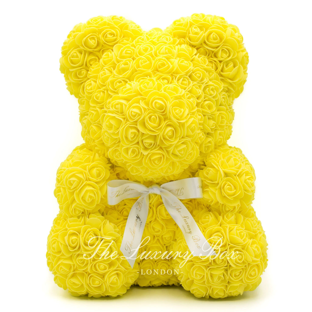 Yellow Rose Bear with Ribbon 14 in. - Luxury Box London