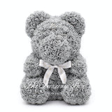 Grey Rose Bear with Ribbon 40cm