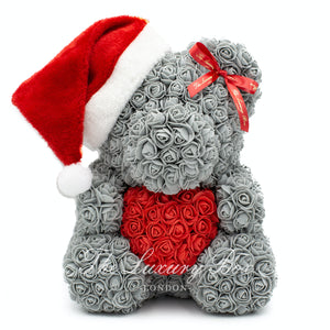 Grey rose bear christmas