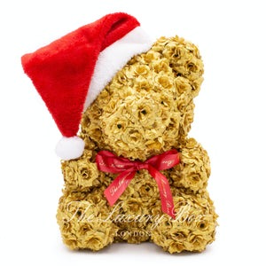 gold rose bear christmas