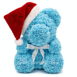 blue rose bear christmas