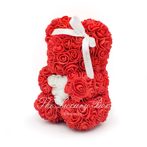 Small Rose Bear - Red With Heart - 10IN. - Luxury Box London