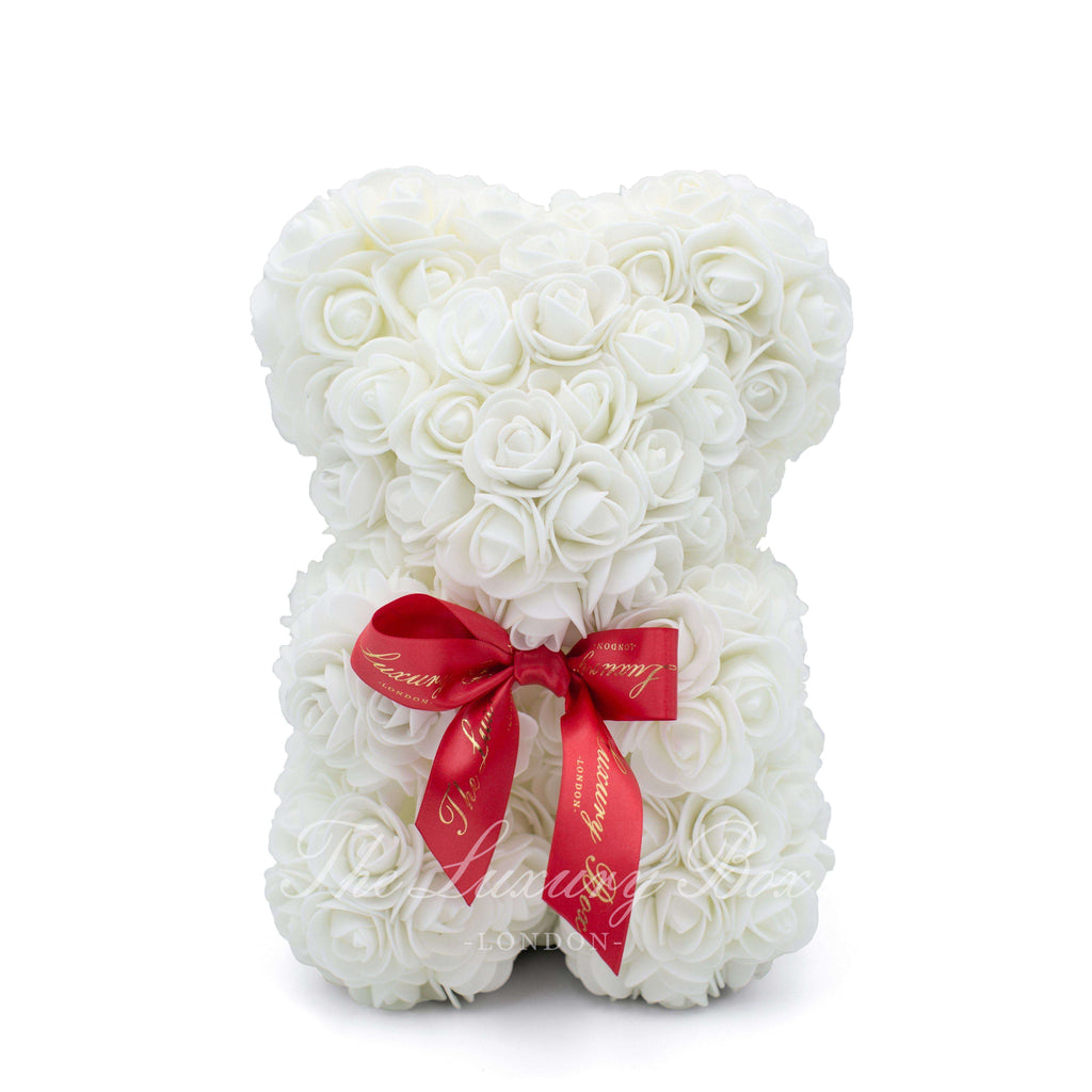 Small Rose Bear - White - 10IN. - Luxury Box London