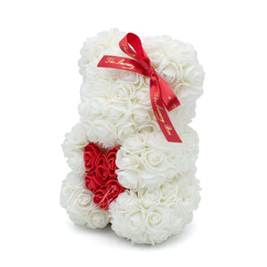 Small Rose Bear - White With Heart - 10IN. - Luxury Box London
