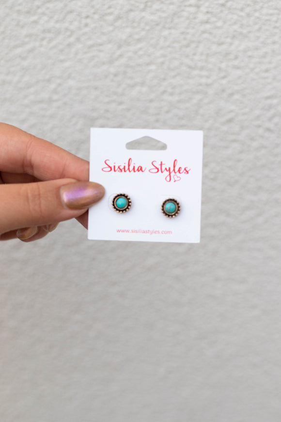 Brass Turquoise Studs