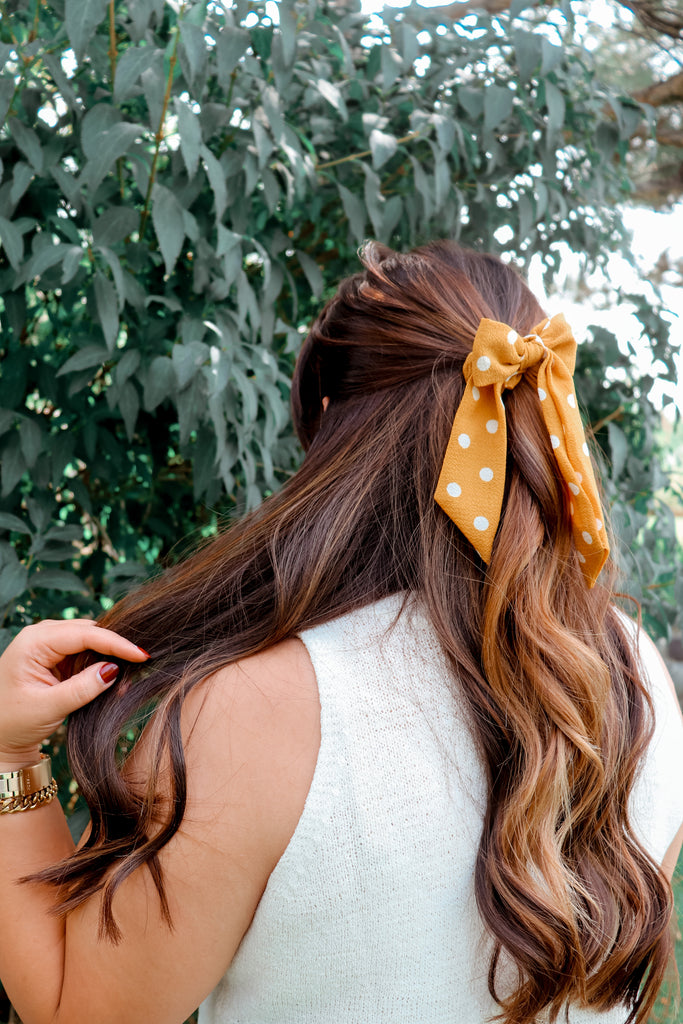 Mustard Yellow Polka Dot Scrunchie