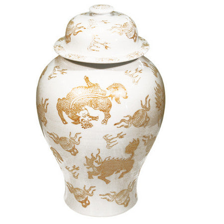 Temple Jar, White and Gold Kylin