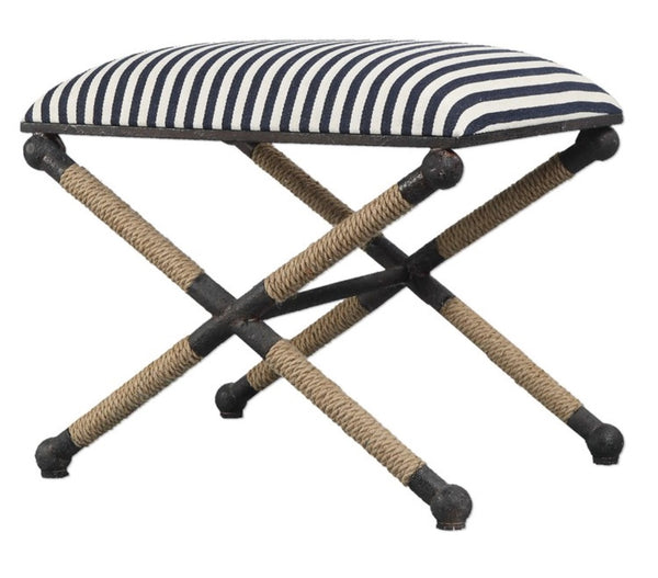 "Bench - Braddock Striped Small Stool, 24""W"