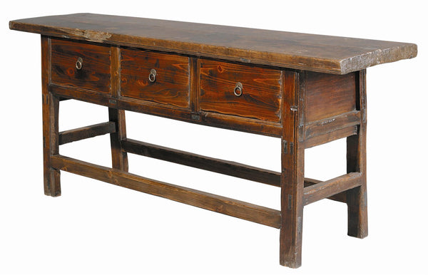 Butcher Console Table, Antique Brown