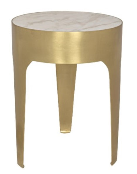 Cylinder Side Table, Brass