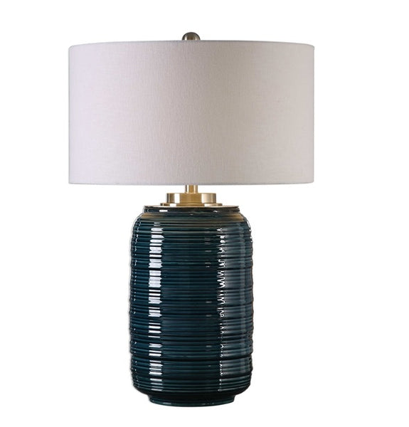 "Delane Ceramic Table Lamp, Teal 29""H"