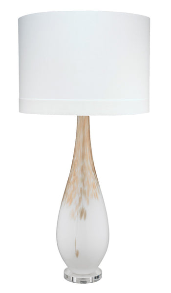 Dewdrop Table Lamp, White w-Gold