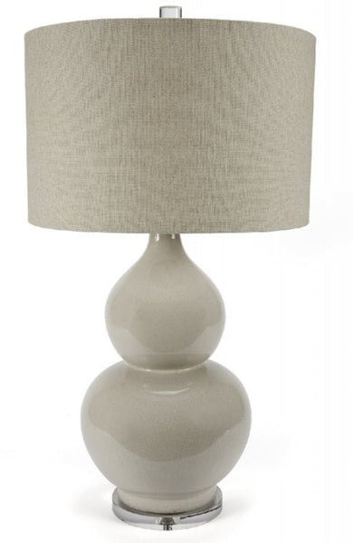 "Large Gray Crackle Table Lamp, 34""H"