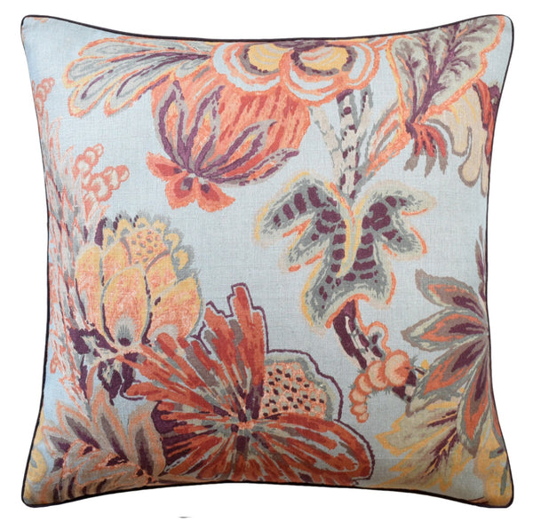 Floral Gala Pillow, Blue / Cinnamon