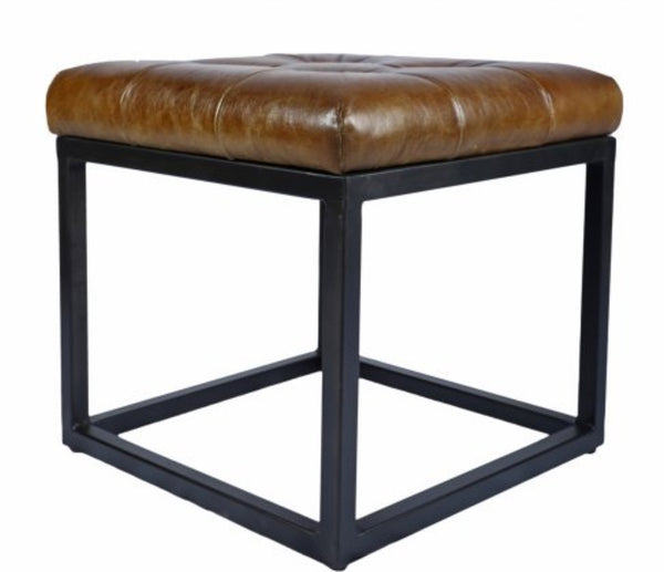 Leather, Norwood Ottoman Stool, 17x17