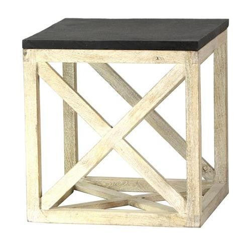 Slate stone-top end table