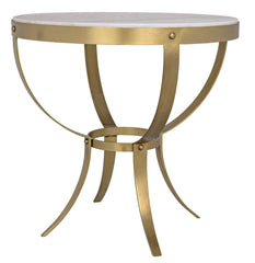 Byron Side Table, Stone / Brass 30""