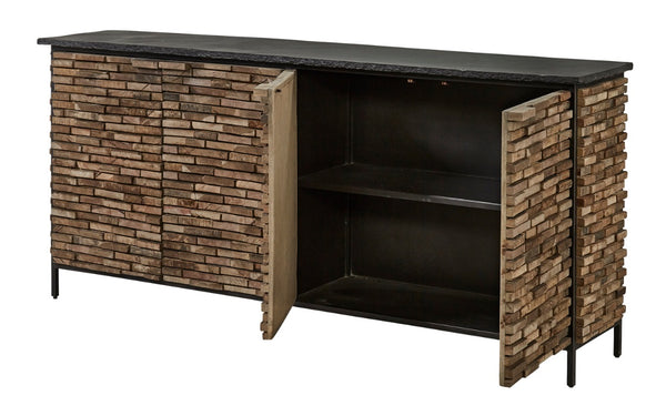 "Slate & Elm Stacked Server, 4-Door 80""W"