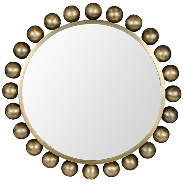 "Copper 33"" Round Mirror - Antique Brass"