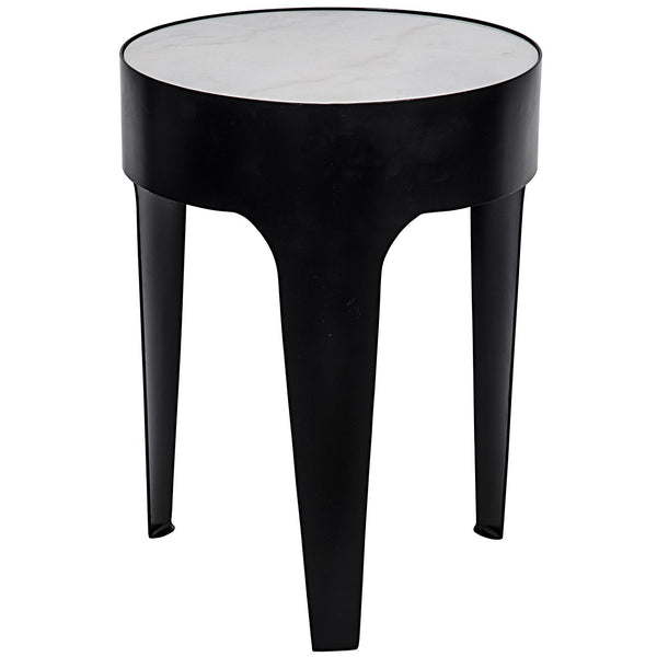 Cylinder Round Side Table, Black 18""